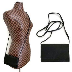 Black Leather Crossbody Wallet Purse